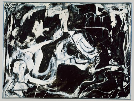 """Black Untitled, 1948"" (1948) karya Willem de Kooning. Kini Dipajang di Metropolitan Museum of Art, New York."